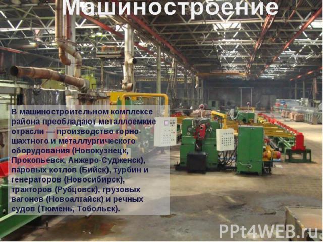 В машиностроительном комплексе района преобладают металлоемкие отрасли — производство горно-шахтного и металлургического оборудования (Новокузнецк, Прокопьевск, Анжеро-Судженск), паровых котлов (Бийск), турбин и генераторов (Новосибирск), тракторов …