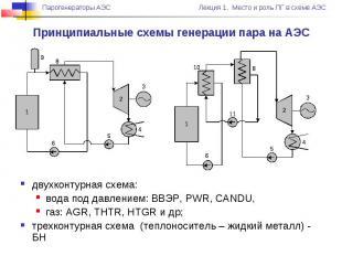 двухконтурная схема: вода под давлением: ВВЭР, PWR, CANDU, газ: AGR, THTR, HTGR