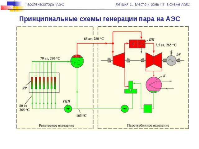 Принципиальные схемы генерации пара на АЭС
