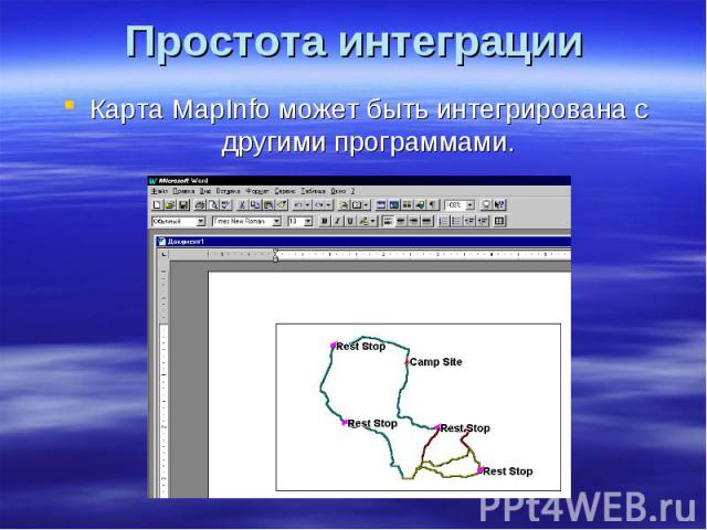 Простота интеграции Карта MapInfo может быть интегрирована с другими программами.