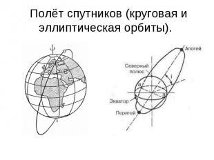 Полёт спутников (круговая и эллиптическая орбиты).
