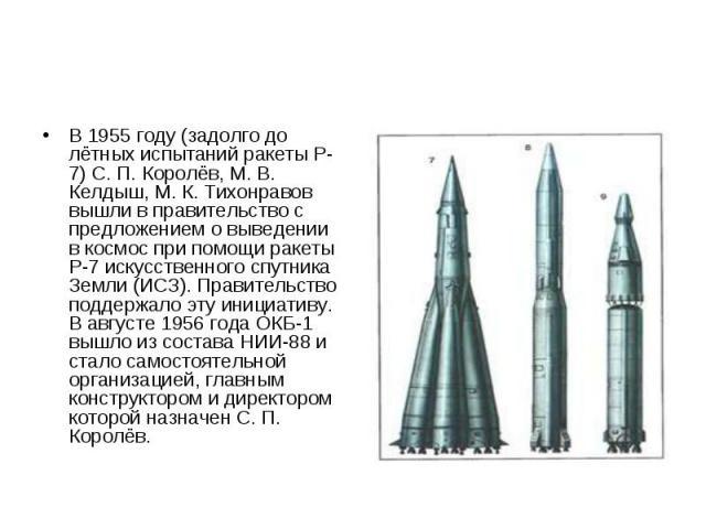 В 1955 году (задолго до лётных испытаний ракеты Р-7) С. П. Королёв, М. В. Келдыш, М. К. Тихонравов вышли в правительство с предложением о выведении в космос при помощи ракеты Р-7 искусственного спутника Земли (ИСЗ). Правительство поддержало эту иниц…