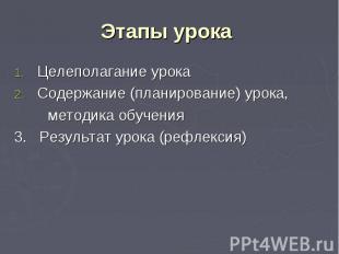 Этапы урока Целеполагание урока Содержание (планирование) урока, методика обучен