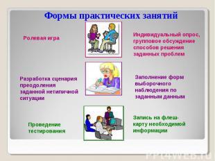 Формы практических занятий Ролевая игра Заполнение форм выборочного наблюдения п