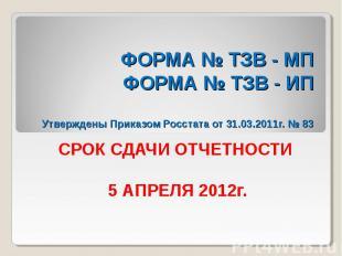 ФОРМА № ТЗВ - МП ФОРМА № ТЗВ - ИП Утверждены Приказом Росстата от 31.03.2011г. №