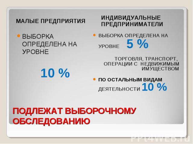 ПОДЛЕЖАТ ВЫБОРОЧНОМУ ОБСЛЕДОВАНИЮ МАЛЫЕ ПРЕДПРИЯТИЯ ВЫБОРКА ОПРЕДЕЛЕНА НА УРОВНЕ 10 % ИНДИВИДУАЛЬНЫЕ ПРЕДПРИНИМАТЕЛИ ВЫБОРКА ОПРЕДЕЛЕНА НА УРОВНЕ 5 % ТОРГОВЛЯ, ТРАНСПОРТ, ОПЕРАЦИИ С НЕДВИЖИМЫМ ИМУЩЕСТВОМ ПО ОСТАЛЬНЫМ ВИДАМ ДЕЯТЕЛЬНОСТИ 10 %