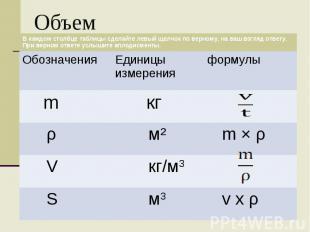 Объем В каждом столбце таблицы сделайте левый щелчок по верному, на ваш взгляд о
