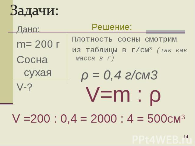 Дано: m= 200 г Сосна сухая V-? * Плотность сосны смотрим из таблицы в г/cм3 (так как масса в г) V=m : ρ V =200 : 0,4 = 2000 : 4 = 500см3 Решение: ρ = 0,4 г/см3