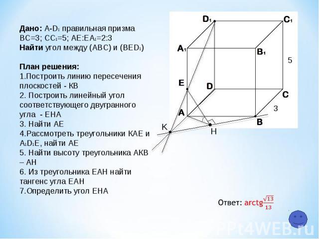 K H 5 3 Дано: A-D1 правильная призма ВС=3; СC1=5; АЕ:ЕA1=2:3 Найти угол между (АВС) и (ВЕD1) План решения: Построить линию пересечения плоскостей - КB 2. Построить линейный угол соответствующего двугранного угла - ЕНА 3. Найти АЕ 4.Рассмотреть треуг…