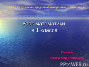 Учитель Томина Вера Степановна МОУ Ганусовская средняя общеобразовательная школа