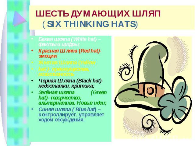 ШЕСТЬ ДУМАЮЩИХ ШЛЯП ( SIX THINKING HATS) Белая шляпа (White hat) – факты и цифры; Красная Шляпа (Red hat)- эмоции Желтая Шляпа (Yellow hat )- преимущества, позитивность Черная Шляпа (Black hat)- недостатки, критика; Зелёная шляпа (Green hat)- творче…