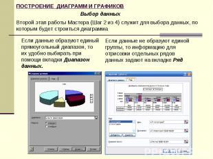 Выбор данных Второй этап работы Мастера (Шаг 2 из 4) служит для выбора данных, п