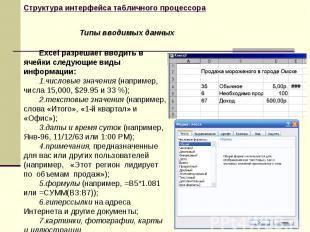 Excel разрешает вводить в ячейки следующие виды информации: числовые значения (н