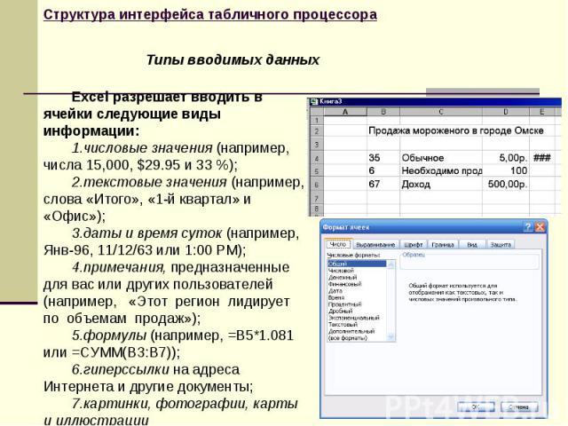 Excel разрешает вводить в ячейки следующие виды информации: числовые значения (например, числа 15,000, $29.95 и 33 %); текстовые значения (например, слова «Итого», «1-й квартал» и «Офис»); даты и время суток (например, Янв-96, 11/12/63 или 1:00 РМ);…
