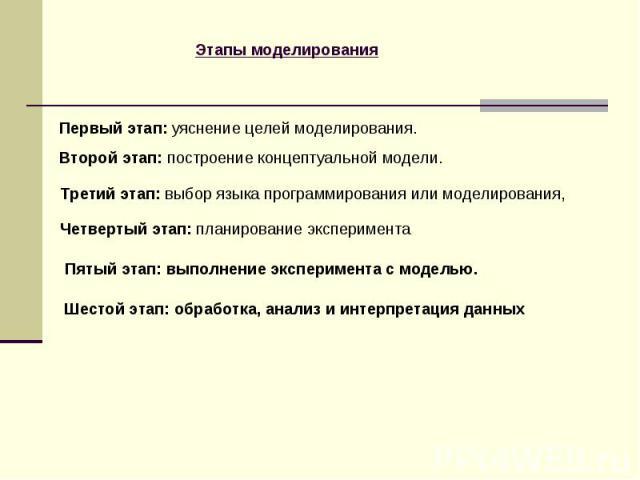 Первый этап: уяснение целей моделирования. Второй этап: построение концептуальной модели. Третий этап: выбор языка программирования или моделирования, Четвертый этап: планирование эксперимента Пятый этап: выполнение эксперимента с моделью. Шестой эт…