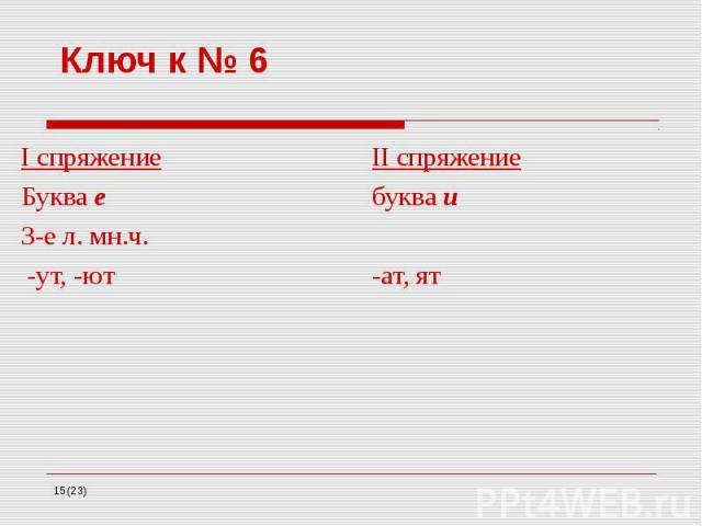 Ключ к № 6 I спряжение II спряжение Буква е буква и 3-е л. мн.ч. -ут, -ют -ат, ят