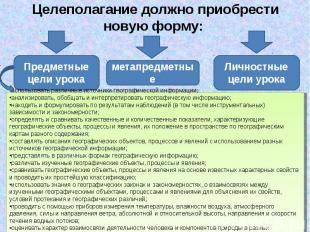 Целеполагание должно приобрести новую форму: Предметные цели урока метапредметны