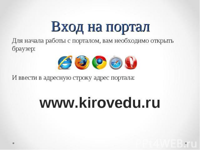 Вход на портал Для начала работы с порталом, вам необходимо открыть браузер: И ввести в адресную строку адрес портала: www.kirovedu.ru