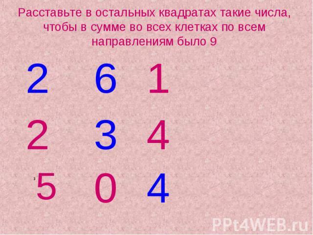 4 3 2 4 0 5 1 6 2 Расставьте в остальных квадратах такие числа, чтобы в сумме во всех клетках по всем направлениям было 9 3