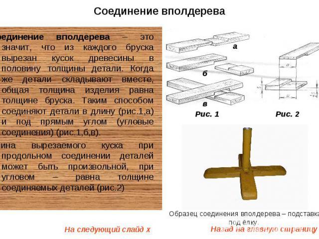 Назад на главную страницу o а б в Рис. 1 Рис. 2 Образец соединения вполдерева – подставка под ёлку. На следующий слайд x Соединение вполдерева Соединение вполдерева – это значит, что из каждого бруска вырезан кусок древесины в половину толщины детал…