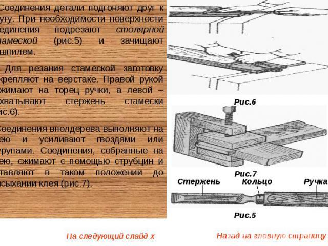 Соединения детали подгоняют друг к другу. При необходимости поверхности соединения подрезают столярной стамеской (рис.5) и зачищают рашпилем. Для резания стамеской заготовку закрепляют на верстаке. Правой рукой нажимают на торец ручки, а левой – обх…