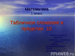 Математика 1 класс Табличное сложение в пределах 10 Подготовила и провела: учите