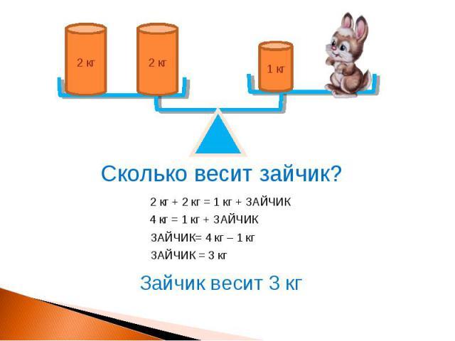 1 кг 2 кг 2 кг Сколько весит зайчик? 2 кг + 2 кг = 1 кг + ЗАЙЧИК 4 кг = 1 кг + ЗАЙЧИК ЗАЙЧИК= 4 кг – 1 кг ЗАЙЧИК = 3 кг Зайчик весит 3 кг