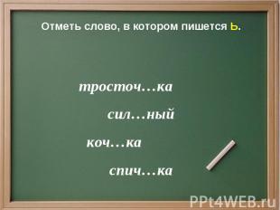 Отметь слово, в котором пишется Ь. тросточ…ка сил…ный коч…ка спич…ка