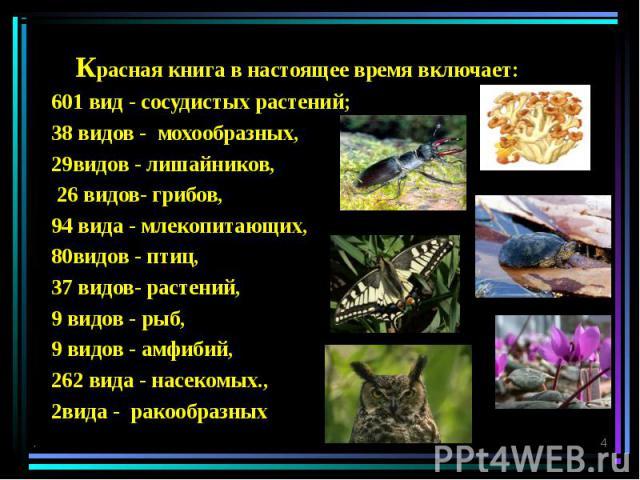 Красная книга в настоящее время включает: 601 вид - сосудистых растений; 38 видов - мохообразных, 29видов - лишайников, 26 видов- грибов, 94 вида - млекопитающих, 80видов - птиц, 37 видов- растений, 9 видов - рыб, 9 видов - амфибий, 262 вида - насек…