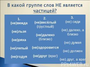 1. (не)вежда (не)льзя (не)ряха (не)лепый (не)годуя 2. (не)весёлый (грустный) (не