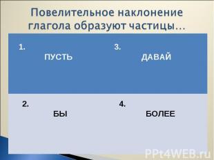 1. ПУСТЬ 3. ДАВАЙ 2. БЫ 4. БОЛЕЕ