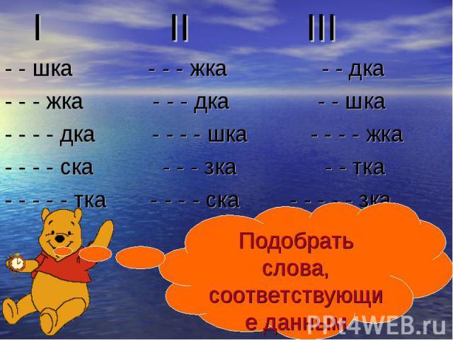 I II III - - шка - - - жка - - дка - - - жка - - - дка - - шка - - - - дка - - - - шка - - - - жка - - - - ска - - - зка - - тка - - - - - тка - - - - ска - - - - - зка Подобрать слова, соответствующие данным схемам.