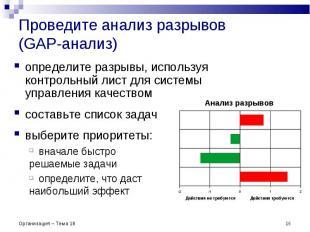Проведите анализ разрывов (GAP-анализ) * Организация – Тема 18 Анализ разрывов о