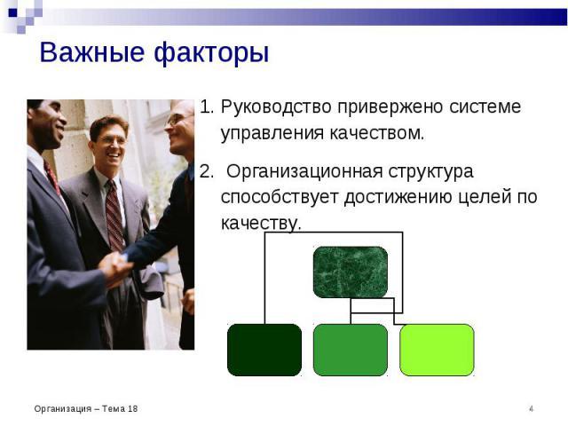 Важные факторы Руководство привержено системе управления качеством. Организационная структура способствует достижению целей по качеству. * Организация – Тема 18