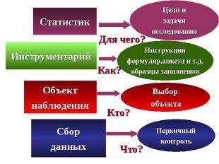 Цели и задачи исследования Статистик Для чего? Инструкция формуляр,анкета и т.д.