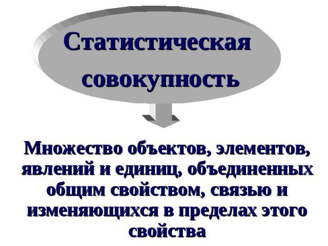 Статистическая совокупность Множество объектов, элементов, явлений и единиц, объединенных общим свойством, связью и изменяющихся в пределах этого свойства