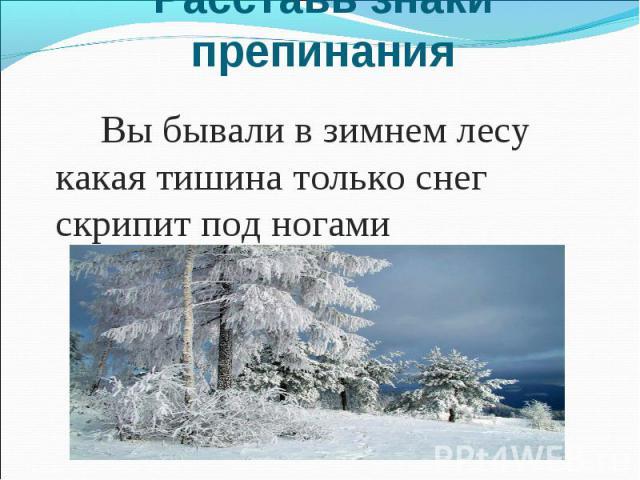 Расставь знаки препинания Вы бывали в зимнем лесу какая тишина только снег скрипит под ногами