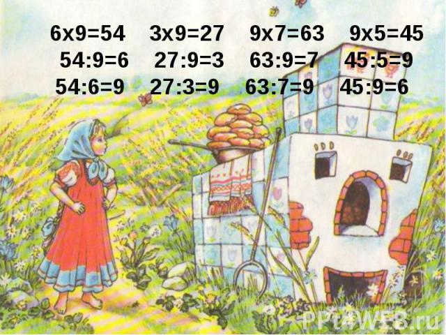 6x9=54 3x9=27 9x7=63 9x5=4554:9=6 27:9=3 63:9=7 45:5=954:6=9 27:3=9 63:7=9 45:9=6