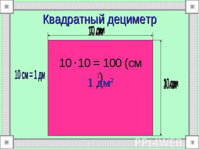1 дм2 Квадратный дециметр 10 . 10 = 100 (см 2)