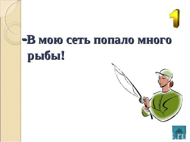 -В мою сеть попало много рыбы!