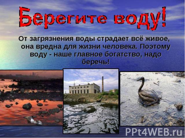 От загрязнения воды страдает всё живое, она вредна для жизни человека. Поэтому воду - наше главное богатство, надо беречь!