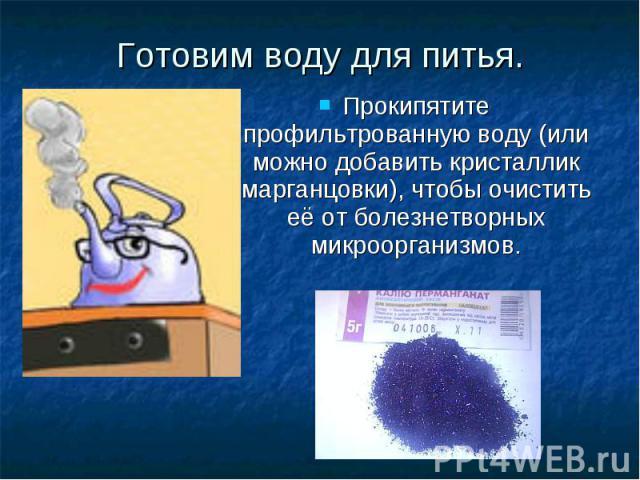 Прокипятите профильтрованную воду (или можно добавить кристаллик марганцовки), чтобы очистить её от болезнетворных микроорганизмов. Готовим воду для питья.