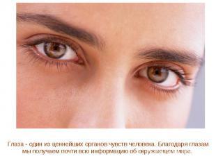Глаза - один из ценнейших органов чувств человека. Благодаря глазам мы получаем