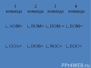 1 команда 2 команда 3 команда 4 команда ∟АОМ= ∟ВОМ= ∟DOM = ∟EOM= ∟СОА= ∟DОВ= ∟NO