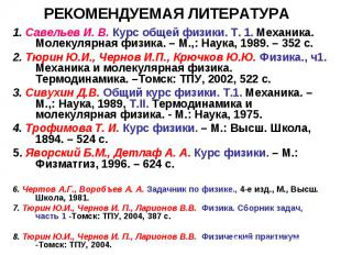 РЕКОМЕНДУЕМАЯ ЛИТЕРАТУРА 1. Савельев И. В. Курс общей физики. Т. 1. Механика. Мо