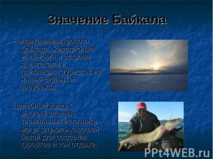 Значение Байкала Неповторимая красота Байкала, живописные его берега и острова п