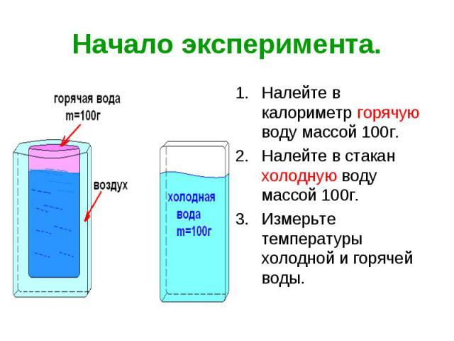 Начало эксперимента. Налейте в калориметр горячую воду массой 100г. Налейте в стакан холодную воду массой 100г. Измерьте температуры холодной и горячей воды.