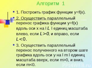 Алгоритм 1 1. Построить график функции y=f(x). 2. Осуществить параллельный перен