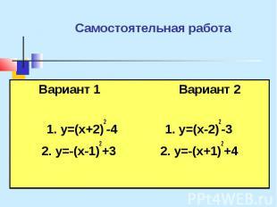 Самостоятельная работа Вариант 1 Вариант 2 1. y=(x+2)2-4 1. y=(x-2)2-3 2. y=-(x-