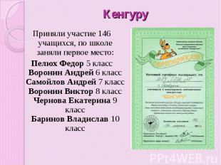 Кенгуру Приняли участие 146 учащихся, по школе заняли первое место: Пелюх Федор